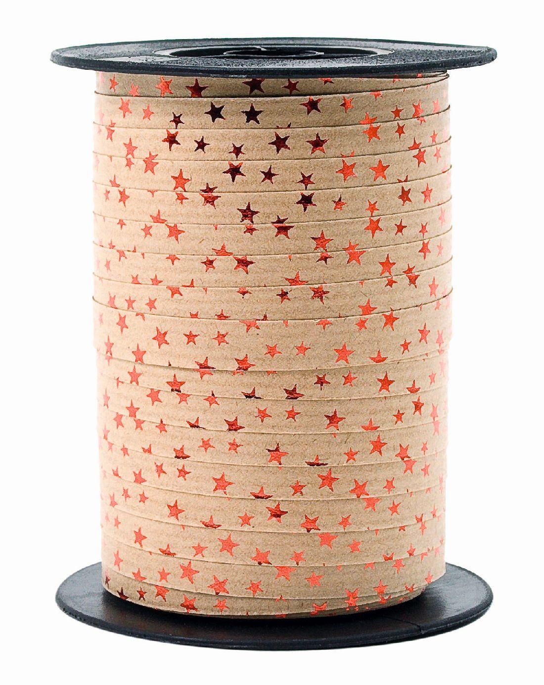 Polyband Spacetime mit Sternen BRAUN-ROT 20 Ringelband 10mm 100 Meter Ziehband