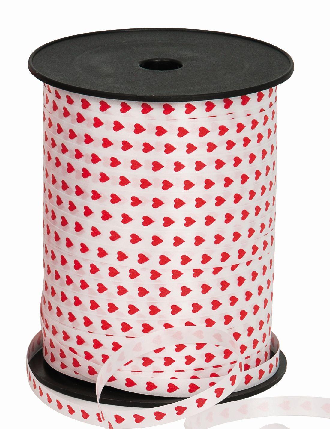 Polyband / Geschenkband Herzband weiss-rot 7mm 250 Meter Ziehband