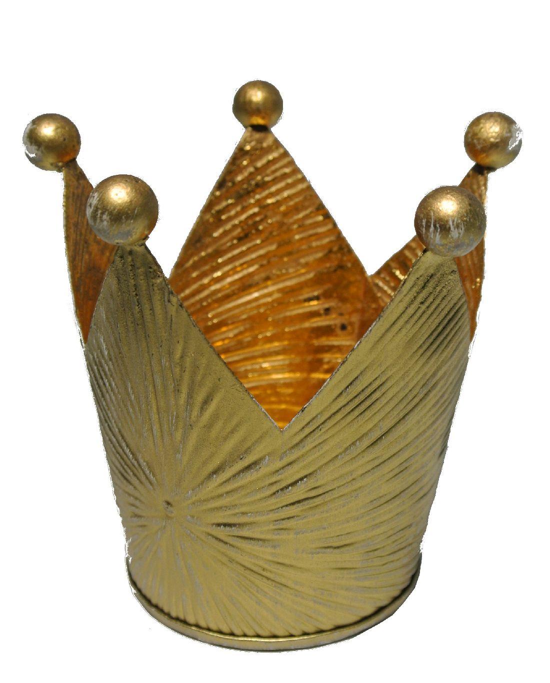 Krone gold Metall stabile Qualität Øoben 8cm H9,5cm Øunten6cm