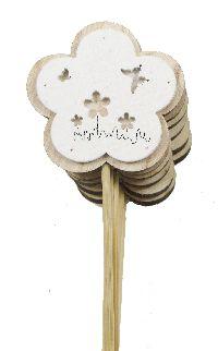 Holzstecker Frühlingsblume NATUR-WEISS Ø7cm 16451