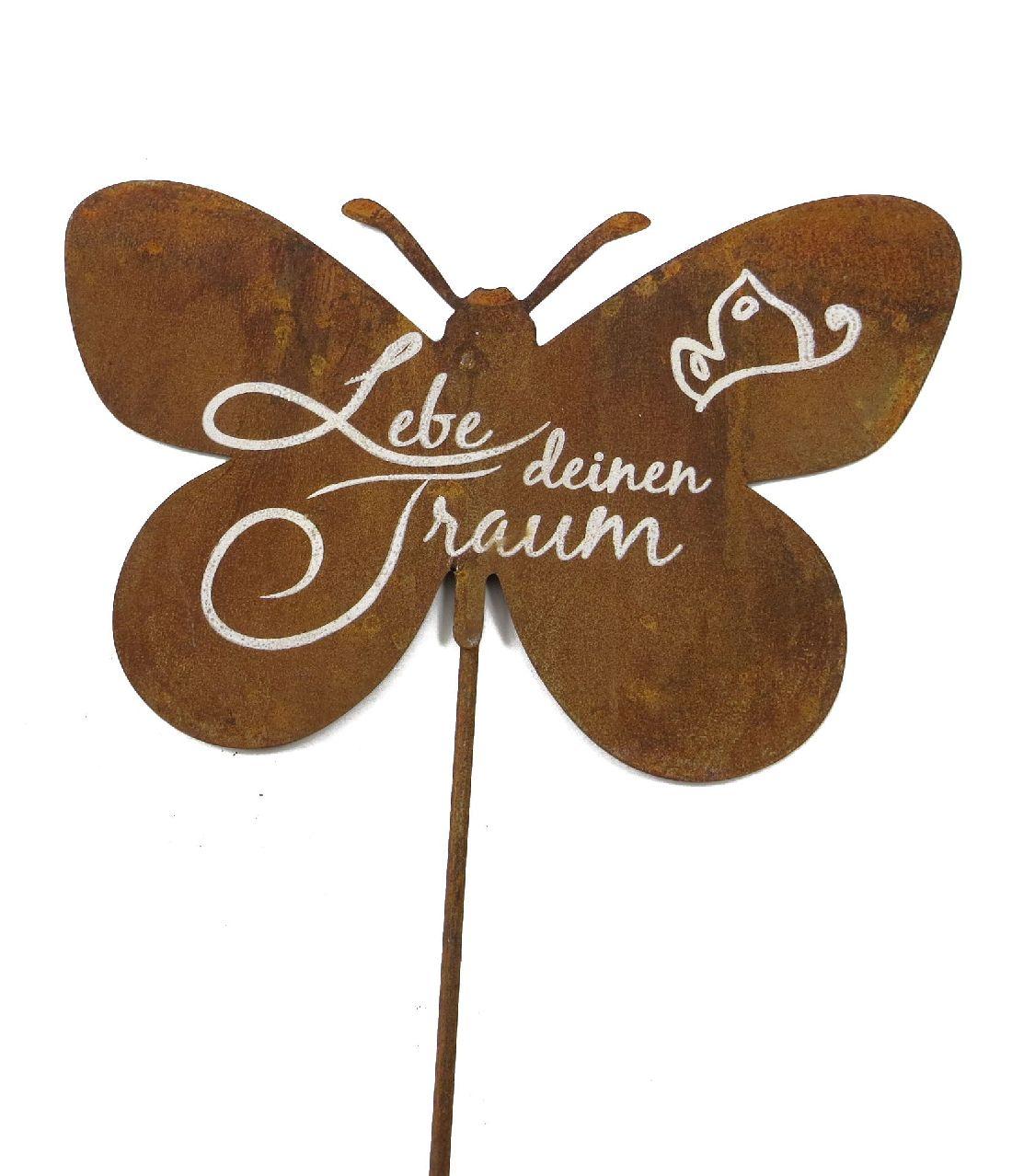Gartenstecker Rost mit Spruch Lebe deinen Traum Schmetterling 25x55cm 61543