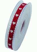 Band Miniherz ROT X905 20 B:15mm L:20m  Stoffband Herzen