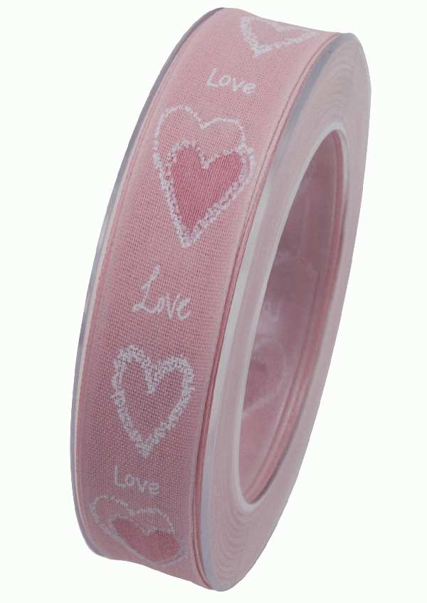 Herzband Pure Love ROSA X909 21 B:25mm L:20m formstabile Kante