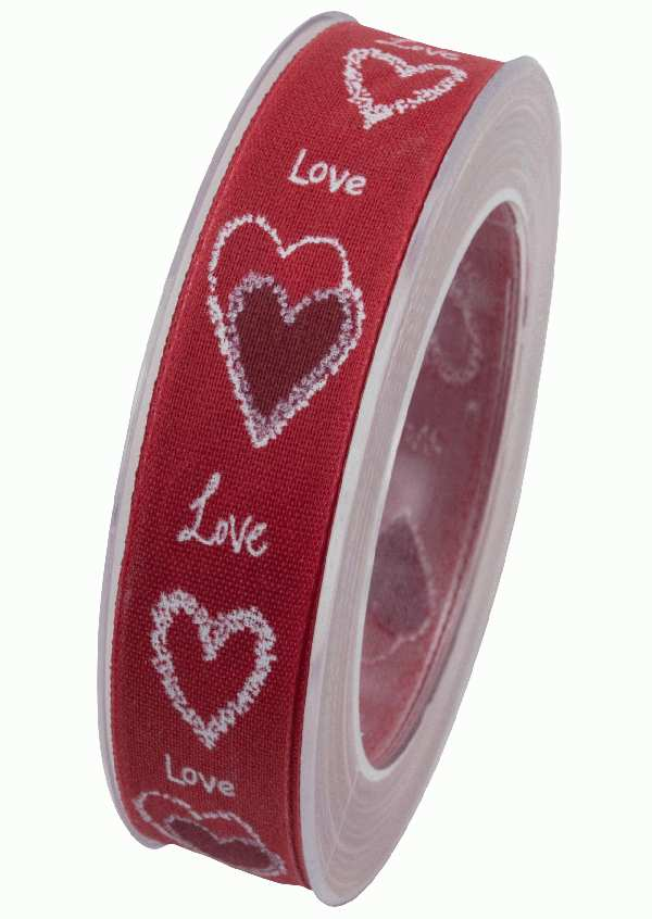 Herzband Pure Love ROT X909 20 B:25mm L:20m formstabile Kante