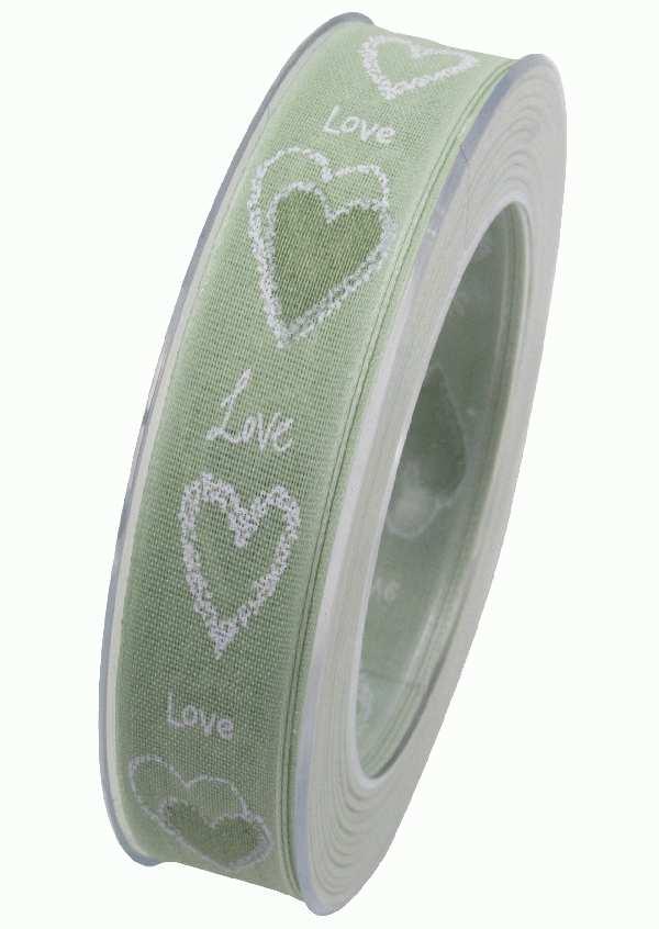 Herzband Pure Love HELLGRÜN X909 52 B:25mm L:20m formstabile Kante