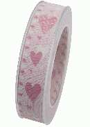 Herzband Sommerliebe mit Draht ROSA X914 21 B:25mm L:20m mit Drahtkante