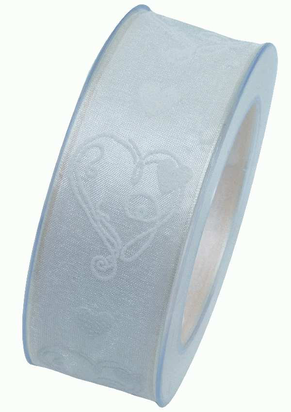 Herzband Sweet Wedding CREMEWEISS X918 25 B:40mm L:20m formstabile Kante