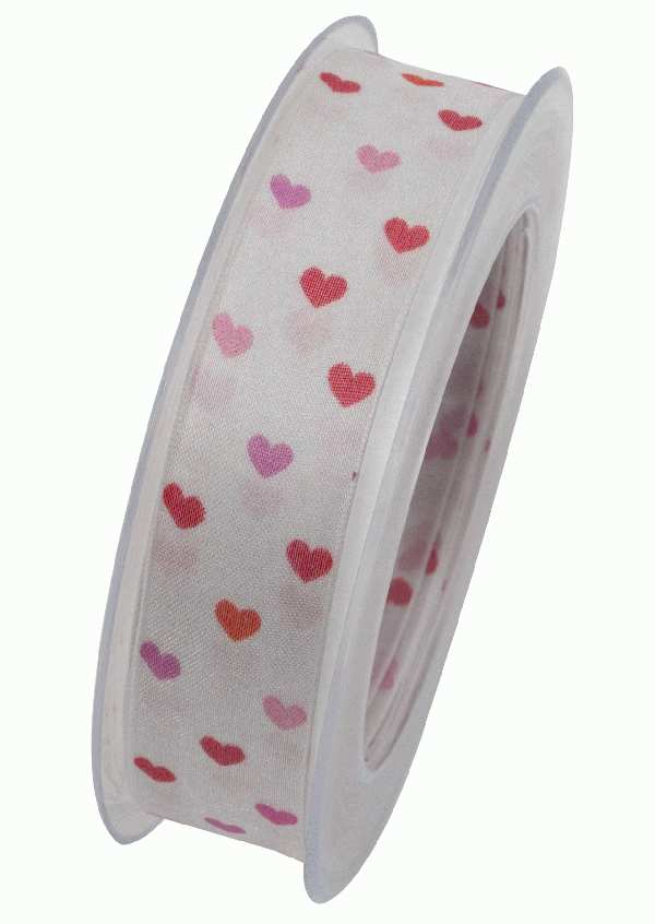 Herzband Heartbeat WEISS-ROT-ROSA X933 20 241 B:25mm L:20m formstabile Kante