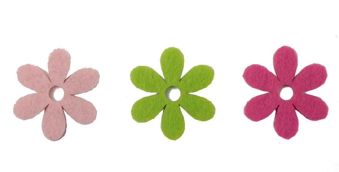 Filzsortiment Colora ROSA-PINK-GRÜN Blüte Ø4cm 18156