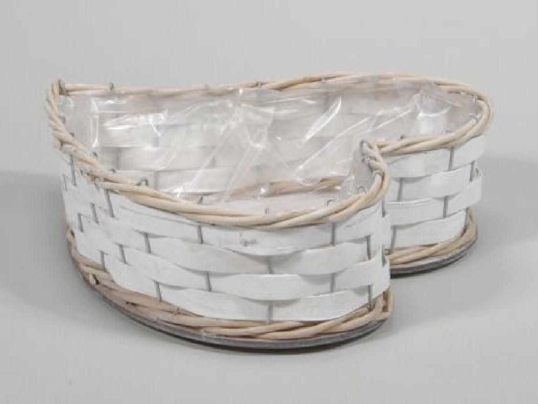 Herzkorb WEISS-BRAUN 351176 21x24x6,5cm mit Plastikeinsatz