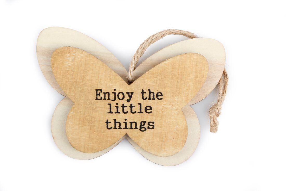 Schmetterling Enjoy... BRAUN 8061211 Hänger Holz ..the little things 12x8x0,8cm