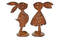 Hasenpaar rostige Hasenliebe ROST 440389 Hasenmann + -frau 16x9,5xH25cm + 17x9,5xH25cm