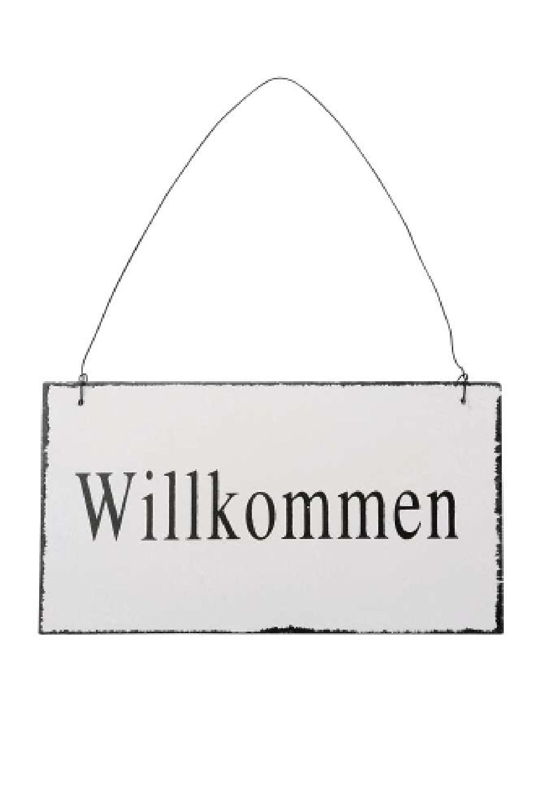 Schild Willkommen / Holzschild weiss Shabby Chic 20xH11x0,5cm  443213