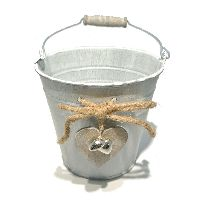 Metalleimer mit Herz GRAU-WASHED 56827013 Øoben13 x H12 x Øunten9cm