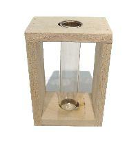 Reagenzglas im Holzrahmen GRAU-WASHED 7x5x10cm (LxBxH) 1 Glas Ø19xH100mm 57035001