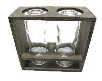 Glasflasche im Holzrahmen GRAU-WASH 18x8x17cm (LxBxH) 2 Flaschen Ø5 H15,5cm 57020017