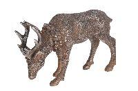 Hirsch aus Poly BRAUN-SILBER 31291 18x6x12cm (LxBxH)