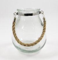 Glas Windlicht mit Seilbügel KLAR  19314  mit Seilhenkel 14x17cm zum Hängen
