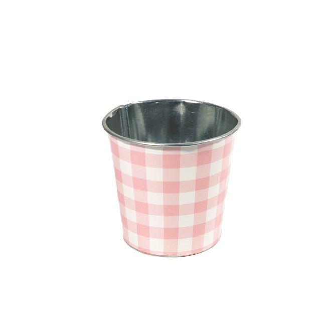 Zinktopf Fotodruck Sommer-Karo-Mix rosa Ø9cm H9cm 40 670