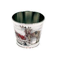 Zinktopf Fotodruck Rentier Vintage natur-weiß-rot Ø12,9cm H10,7cm  40 415