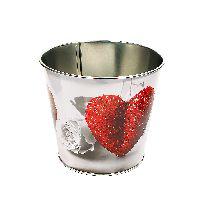 Zinktopf Fotodruck rotes Herz mit Rosen 40 300 Ø12,9cm H10,7cm