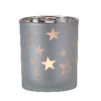 Teelichtglas Sparkling Stars SILBER-WEISS 1049633 Ø7cm H8cm