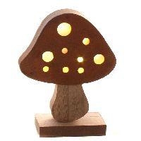 Pilz mit LED Beleuchtung Holz+Rost inkl.Batterie CR2032 13x5x16,5cm (LxBxH)