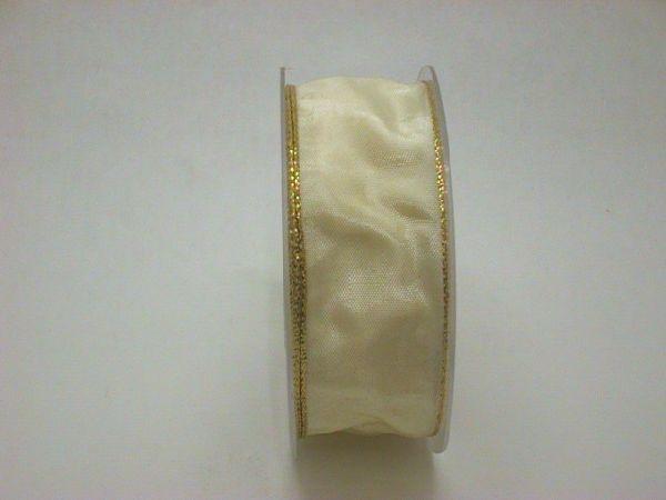 Drahtband mit Goldkante CREME 103 70mmx25m