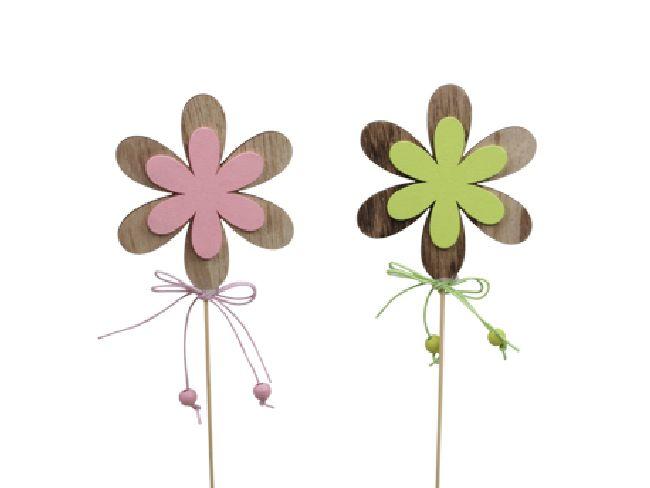 Holzstecker farbiger Frühling ROSA-GRUEN Blume  8 cm 355275