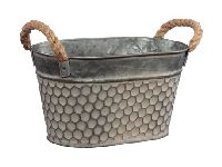 Metallschale Wabenmuster graubraun 358805 Jardiniere oval 26x16x13cm mit Seilhenkel